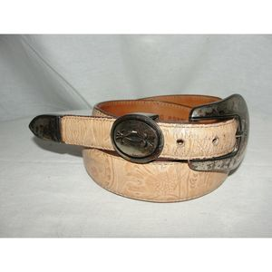 Western Cowgirl Tan Tooled Cowhide Leather Belt